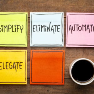Task management concept: simplify, eliminate, automate, delegate(Blog)